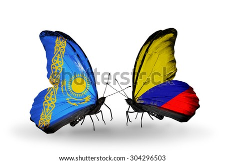 Two butterflies with flags on wings as symbol of relations Kazakhstan and Colombia - stock photo