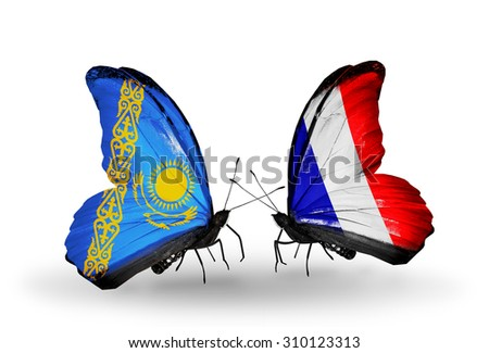 Two butterflies with flags on wings as symbol of relations Kazakhstan and France - stock photo