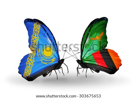 Two butterflies with flags on wings as symbol of relations Kazakhstan and Zambia - stock photo