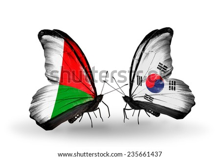 Two butterflies with flags on wings as symbol of relations Madagascar and South Korea - stock photo