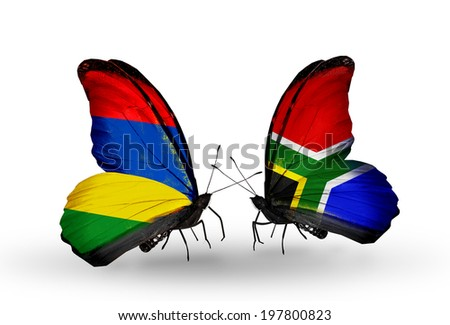 Two butterflies with flags on wings as symbol of relations Mauritius and South Africa - stock photo