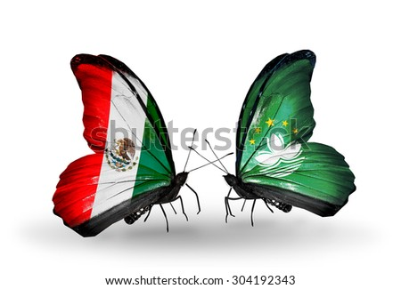 Two butterflies with flags on wings as symbol of relations Mexico and Macau - stock photo