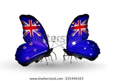 Two butterflies with flags on wings as symbol of relations New Zealand and Australia - stock photo