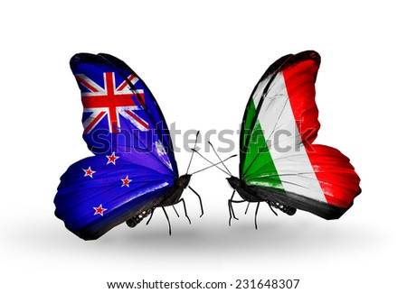 Two butterflies with flags on wings as symbol of relations New Zealand and  Italy - stock photo
