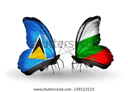Two butterflies with flags on wings as symbol of relations Saint Lucia and Bulgaria - stock photo