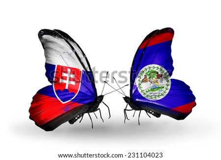 Two butterflies with flags on wings as symbol of relations Slovakia and Belize - stock photo