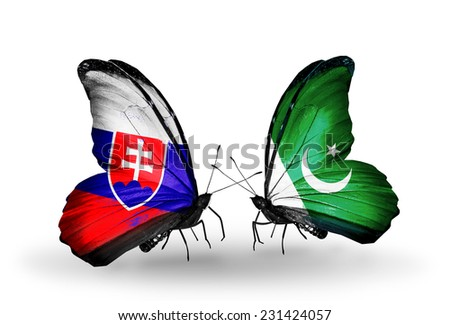 Two butterflies with flags on wings as symbol of relations Slovakia and Pakistan - stock photo