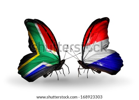 Two butterflies with flags on wings as symbol of relations South Africa and Holland - stock photo