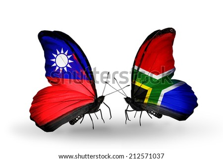 Two butterflies with flags on wings as symbol of relations Taiwan and South Africa - stock photo