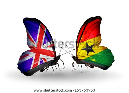 Two butterflies with flags on wings as symbol of relations UK and Ghana - stock photo
