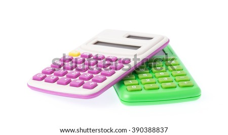 two calculators isolated on white background - stock photo