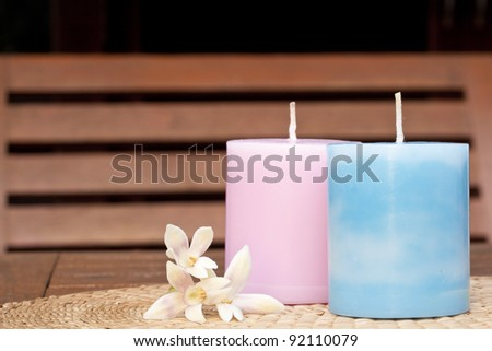 Two candle , spa - stock photo