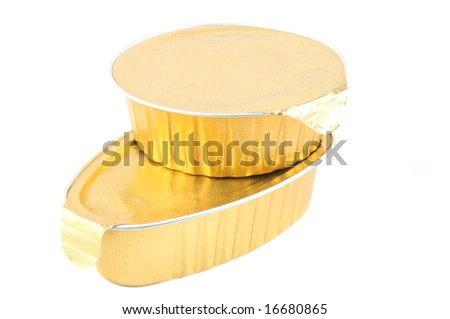 Two cans of foils. Isolated on a white background. - stock photo