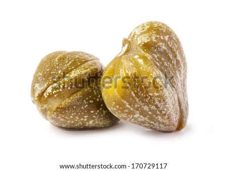 Two capers isolated on white background - stock photo