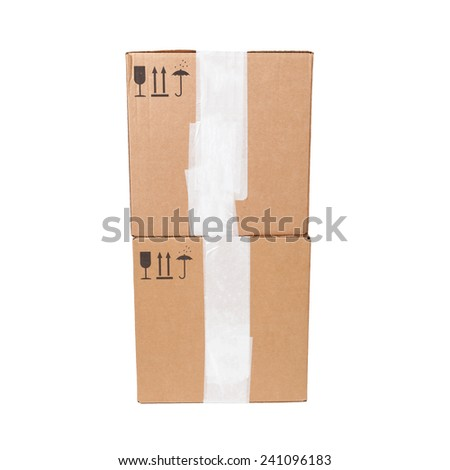 Two cardboard boxes with standard black signs isolated on white background - stock photo
