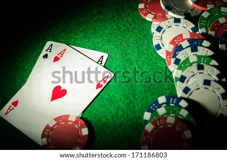 two cards aces on poker table - stock photo