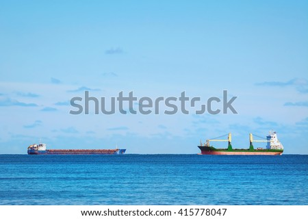 Two Cargo Ships in the Black Sea - stock photo