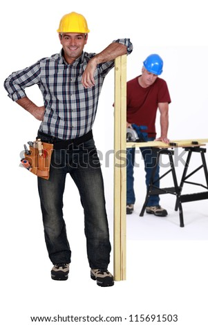 Two carpenters - stock photo