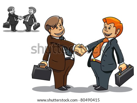 Two cartoon smiling businessmen meeting and communicating. Vector version also available in gallery - stock photo