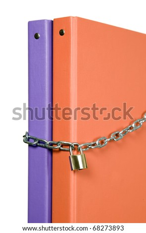 Two catalogs of documents are locked with chain - stock photo