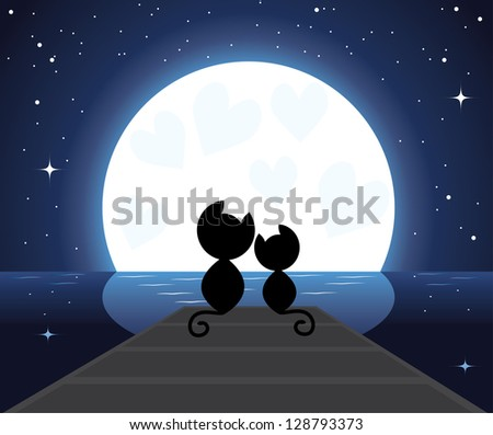 two cats in love watching on the moon - stock photo
