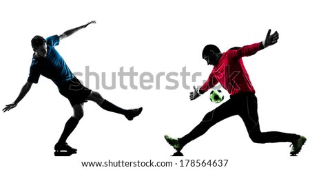 two caucasian soccer player goalkeeper men face to face competition in silhouette isolated white background - stock photo