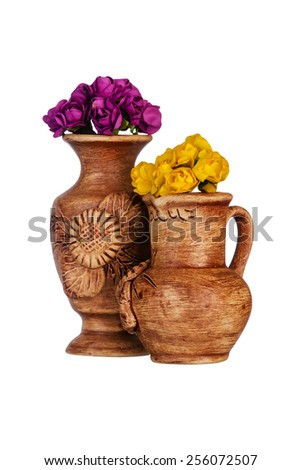 Two ceramic vase with flowers - stock photo