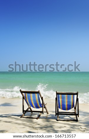 two chair in sea sand sun - stock photo