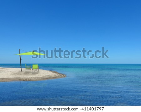 two chairs and a parasol on the lonesome beach with a view to the sea - stock photo