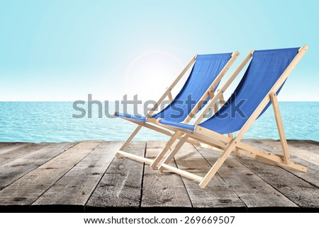 two chairs and pier space  - stock photo