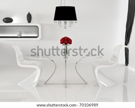 Two chairs and table with vase in minimalism interior. Space. Curve Furniture - stock photo