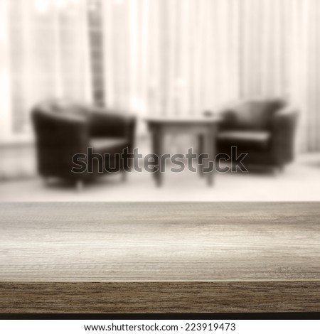 two chairs and wooden top  - stock photo