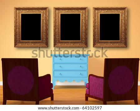 Two chairs opposite wooden bedside with picture frames in minimalist interior - stock photo