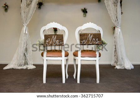 Two chairs where a marriage is going to happen - stock photo