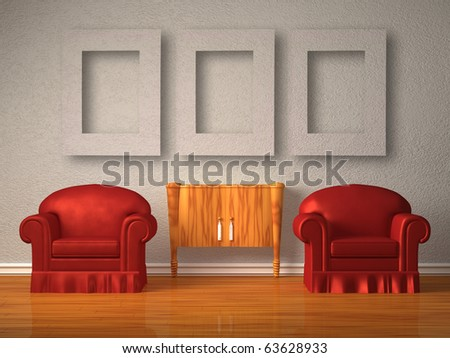 Two chairs with wooden console and frames in minimalist interior - stock photo