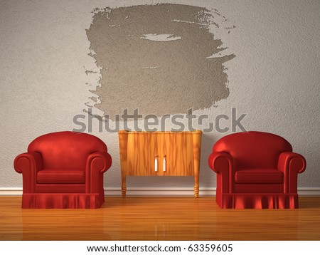 Two chairs with wooden console and splash frame in minimalist interior - stock photo