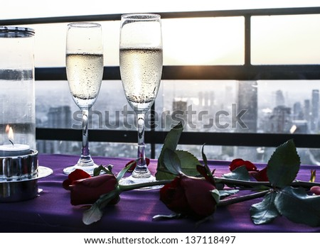 Two Champagne Glasses - stock photo
