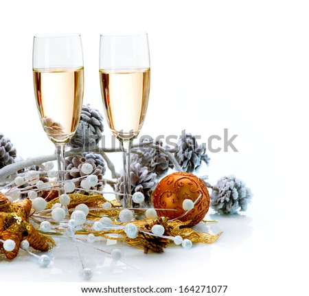 Two Champagne Glasses. New Year Card Design with Champagne. Christmas Celebration. Over White Background  - stock photo