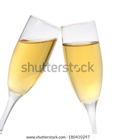 two champagne glasses on white  - stock photo