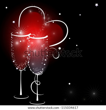 Two Champagne Glasses with Abstract Heart Splash. - stock photo