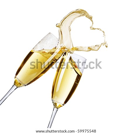 Two Champagne Glasses with abstract splash - stock photo