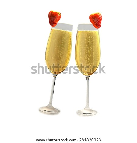 Two champagne glasses with two red strawberry on a white background which symbolizes love. - stock photo