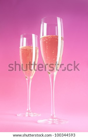 Two champagne or cider glasses - stock photo
