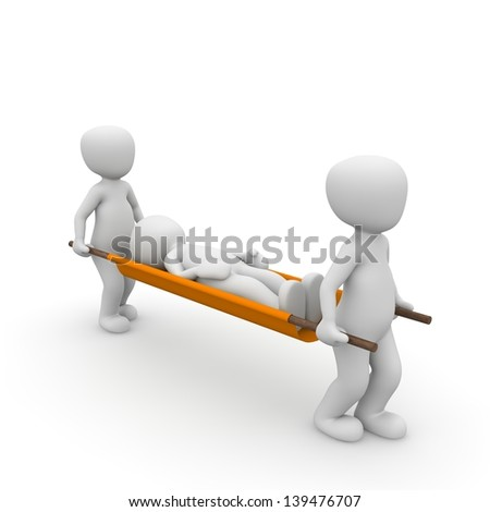 Two character carrying a third on a ambulance stretcher. - stock photo