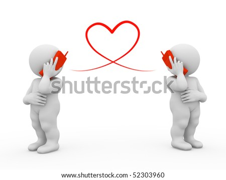 two characters flirting by phone - stock photo