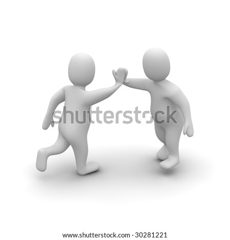 Two characters giving high five. 3d rendered illustration. - stock photo