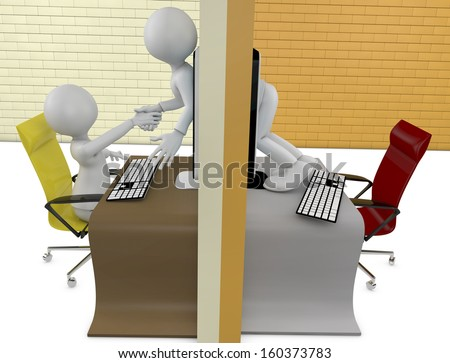 Two characters handshake through screens of laptops - stock photo