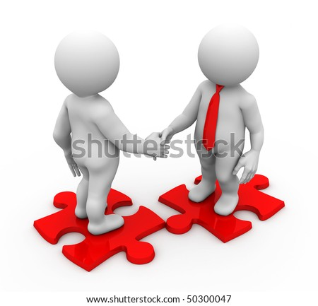 two characters shaking their hands standing on a puzzle pieces - stock photo