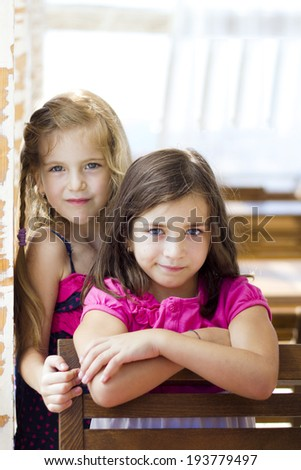 Two charming little girls in summer day - stock photo