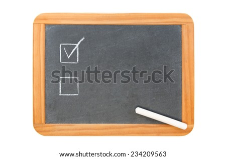 Two checkboxes on on vintage chalkboard and used chalk on the board, isolated on white - stock photo